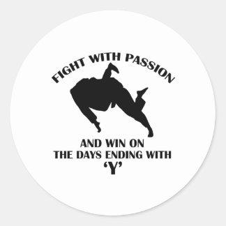 diseño marcial del judo pegatina redonda