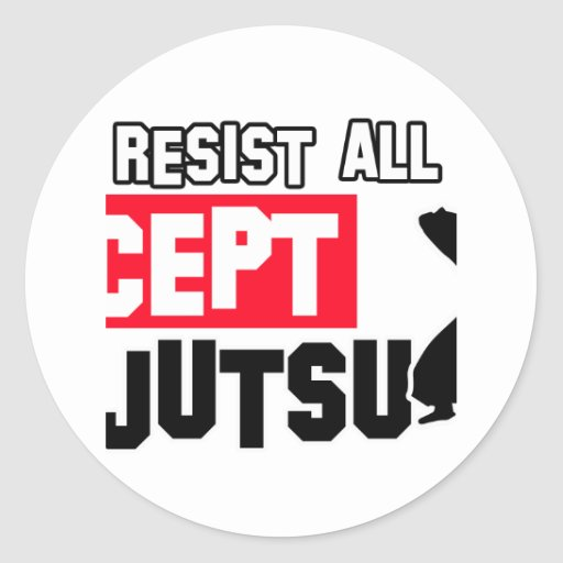 diseño marcial del ninjutsu etiqueta redonda