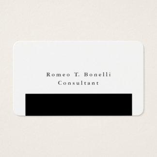 Diseño minimalista negro y blanco elegante llano tarjeta de visita