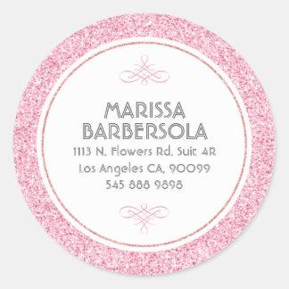 Diseño moderno del círculo blanco rosado del pegatina redonda