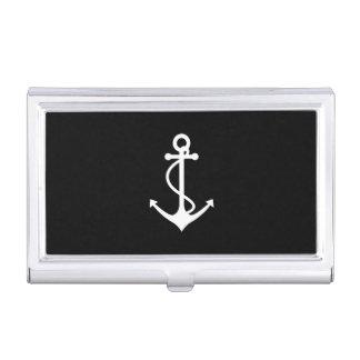 Diseño náutico blanco y negro del ancla clásica caja de tarjetas de negocios