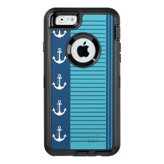 Diseño náutico de moda de la raya y del ancla funda OtterBox defender para iPhone 6