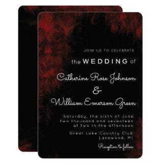 Diseño negro del boda de n del rojo apasionado invitación 12,7 x 17,8 cm