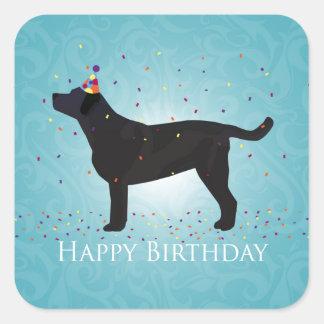 Diseño negro del feliz cumpleaños del laboratorio pegatina cuadrada