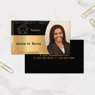 Diseño negro y metálico de la foto del agente tarjeta de negocios