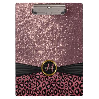 Diseño negro y polvoriento bonito del rosa carpeta de pinza