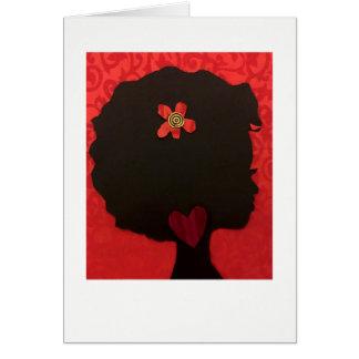 Diseño Notecard del corazón del Afro de Alicia L. Tarjeta