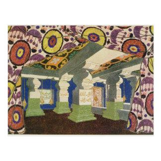 Diseño oriental del paisaje (litho) del color 2 postales