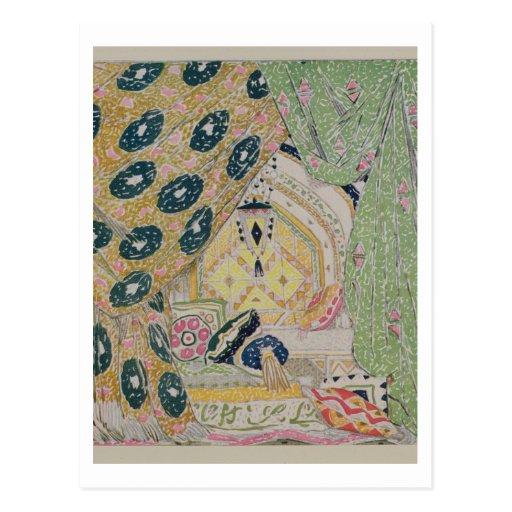 Diseño oriental del paisaje (litho del color) postal