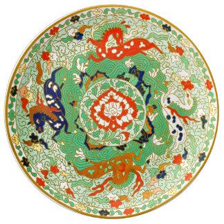 Diseño ornamental chino plato de porcelana