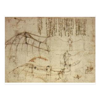 Diseño para una máquina de vuelo de Leonardo da Postal