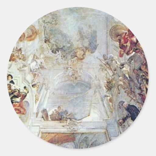 Diseño para una pintura del techo de la alegoría pegatina redonda