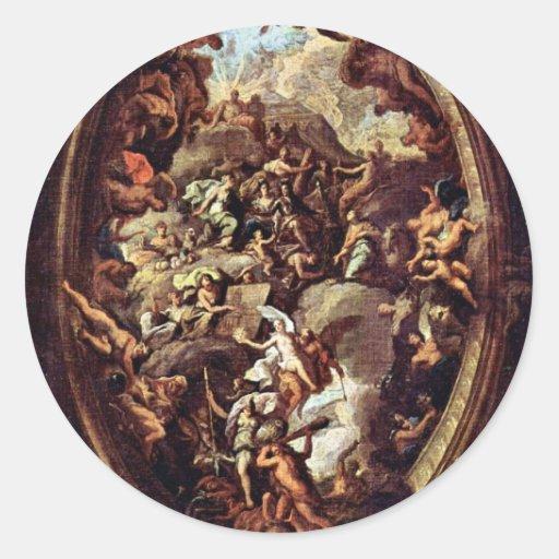 Diseño para una pintura del techo del Greenwich Etiquetas Redondas