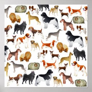 Diseño pedigrí lindo del papel pintado del perro c poster