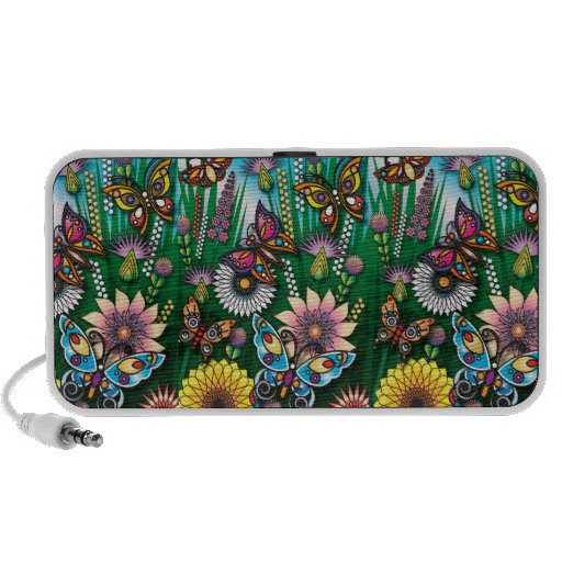 diseño precioso del jardín de la mariposa iPod altavoz