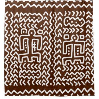 Diseño primitivo tribal de Brown Cortina De Baño