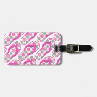 Diseño punteado polca rosada del flip-flop etiquetas de equipaje