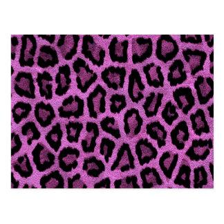 Diseño púrpura del estampado de animales postal