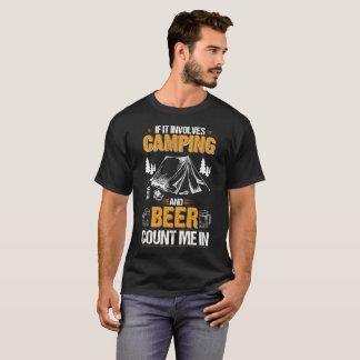 Diseño que acampa y de consumición divertido camiseta