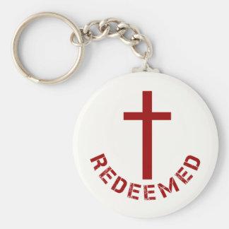 Diseño redimido cristiano de la Cruz Roja y del Llavero Redondo Tipo Chapa