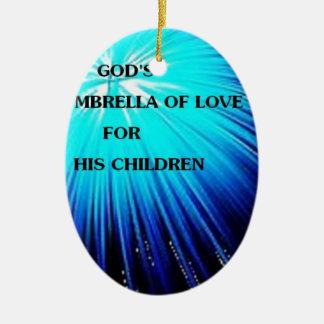 diseño religioso del paraguas abstracto adorno navideño ovalado de cerámica