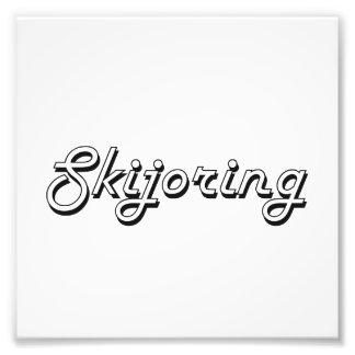 Diseño retro clásico de Skijoring Fotografía