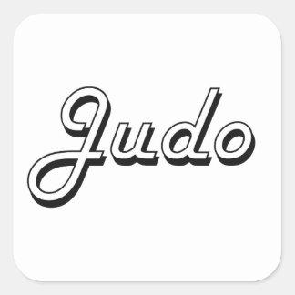 Diseño retro clásico del judo pegatina cuadrada
