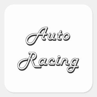 Diseño retro clásico el competir con auto pegatina cuadrada