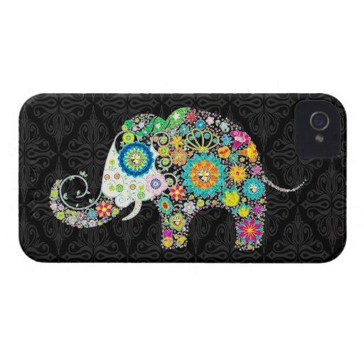 Diseño retro colorido del elefante de la flor iPhone 4 carcasas