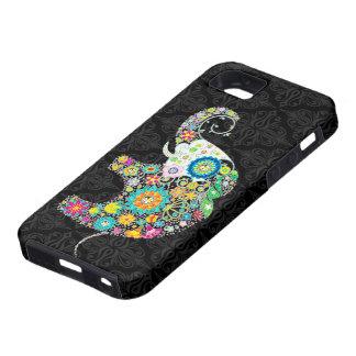 Diseño retro colorido del elefante de la flor iPhone 5 coberturas