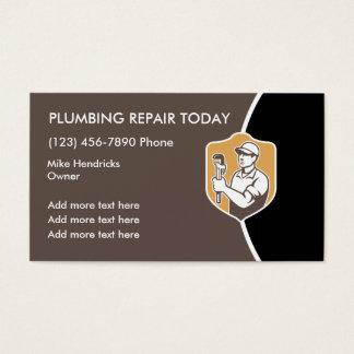 Diseño retro de la fontanería tarjeta de visita