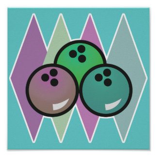 diseño retro de las bolas de bolos póster