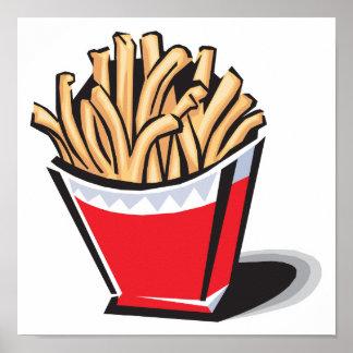 diseño retro de las patatas fritas póster