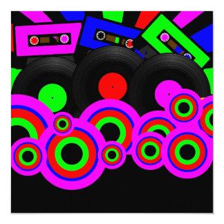 Diseño retro del fiesta invitación 13,3 cm x 13,3cm