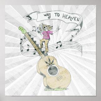 diseño retro del vector de la música del hippie póster