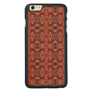 Diseño rizado dibujado mano colorida abstracta del funda fina de arce para iPhone 6 plus de carved