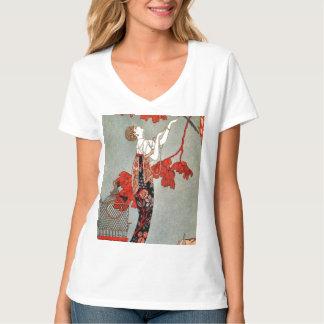 Diseño rojo de la señora art déco camiseta