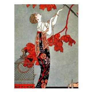 Diseño rojo de la señora art déco postal