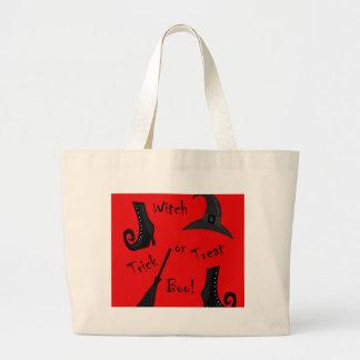 Diseño rojo de las fuentes de la bruja bolso de tela gigante