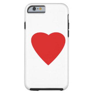 Diseño rojo y blanco del corazón del amor funda de iPhone 6 tough