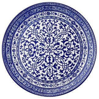 Diseño romano del siglo XVI azul y blanco Plato De Porcelana
