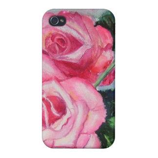 Diseño rosado de los rosas iPhone 4 fundas