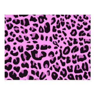 Diseño rosado del estampado de animales postal