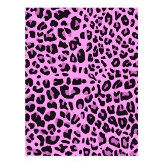 Diseño rosado del estampado de animales postales