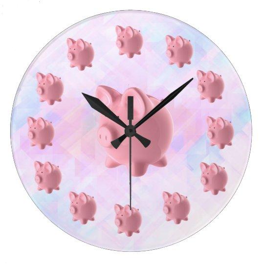 Diseño rosado divertido del cerdo reloj redondo grande