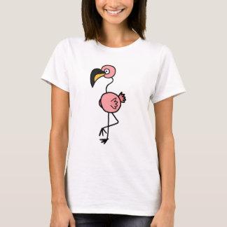 Diseño rosado enrrollado del arte del flamenco camiseta