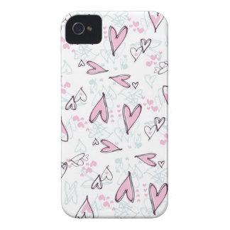 Diseño rosado lindo del el día de San Valentín del iPhone 4 Case-Mate Protectores