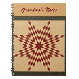 Diseño solitario marrón del edredón de la estrella libros de apuntes con espiral