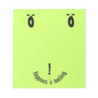 Diseño sonriente de la cara de la nota de Teacher Bloc De Notas