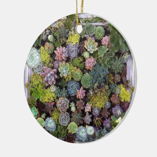 Diseño suculento del jardín adorno navideño redondo de cerámica